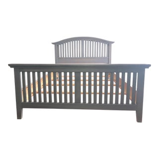 Solid Wood Weathered Gray Queen Bed Frame