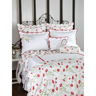 Blossoming Duvet Cover in Red in Full For Sale