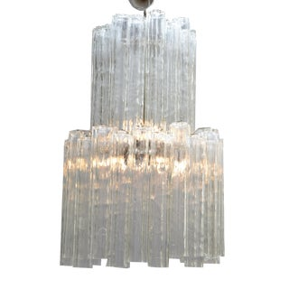 Italian Mid-Century Modern Two Tier Long Crystal Tronchi Shades Chandelier For Sale