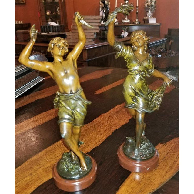 Green 19th C. Bronzed Spelter Sculptures After Auguste Moreau - a Pair For Sale - Image 8 of 13
