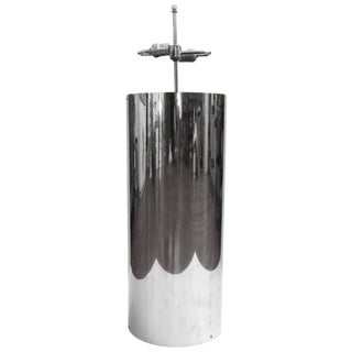 1960s Mid-Century Space Age Striking Large Chrome Cylinder Lamp by Habitat For Sale