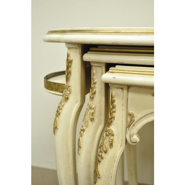 3 Vintage French Louis XV Carved Satinwood Inlaid Nest of Nesting Side Tables For Sale - Image 9 of 11