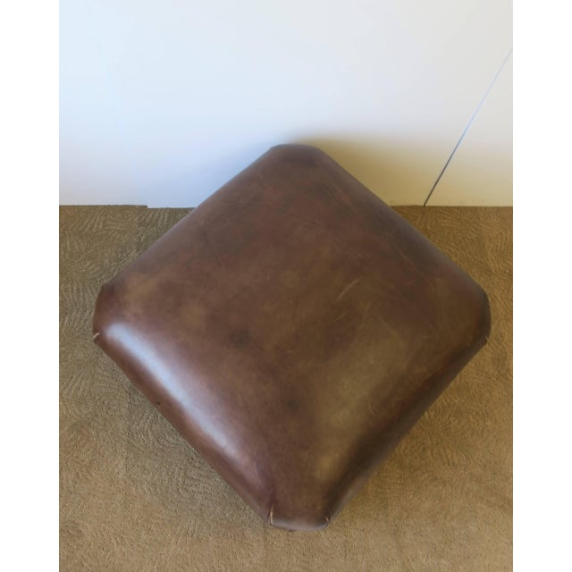 Postmodern Brown Leather Ottoman by George Smith, Ca. 1990s For Sale - Image 9 of 11