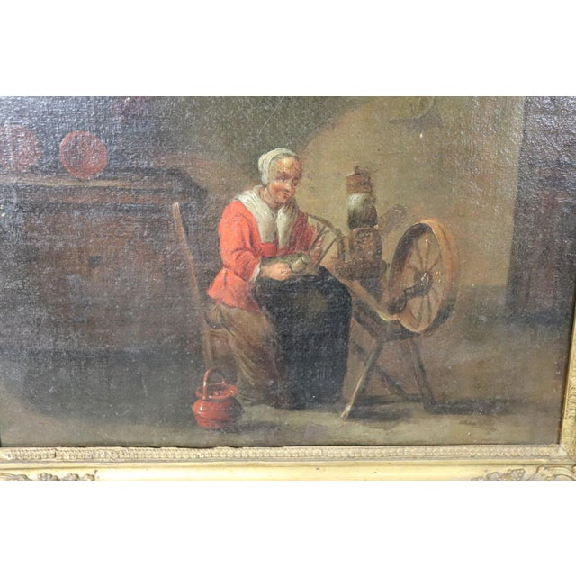 18th Century Flemish Oil Painting on Canvas Woman Who Weaves For Sale - Image 6 of 12
