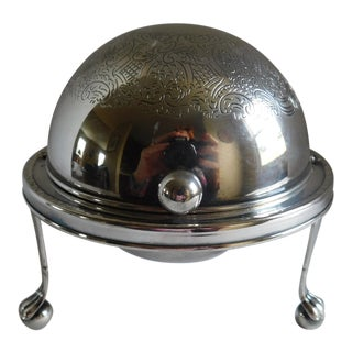 Mid-Century Silverplate Cigarette Globe - Made in England For Sale