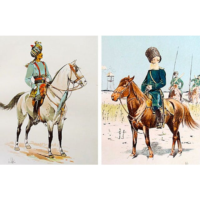 Two lithographs from an exquisite and rare book called the Croquis de Cavalerie, printed in Paris by Firmin Didot in 1893....