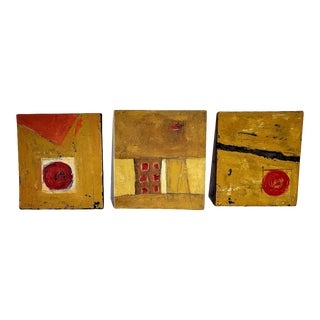 Abstract Tryptic Painting Canvas on Wood For Sale