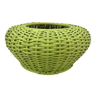 Vintage Woven Basket Planter Vase For Sale