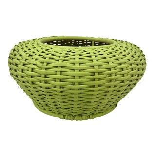 Vintage Woven Basket Planter Vase For Sale
