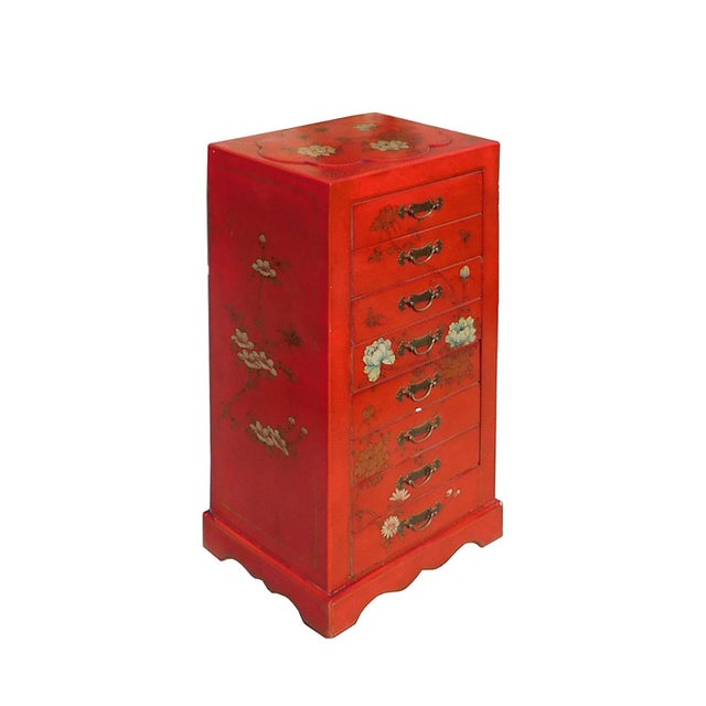Miniature Red Vinyl Flower & Butterflies Chest of Drawers - Image 2 of 6