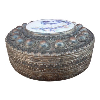 Metal & Ceramic Chinese Box For Sale