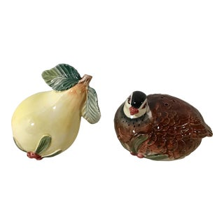 Vintage Fitz and Floyd Partridge and Pear Salt and Pepper Shakers For Sale