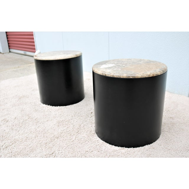 Mid Century Modern Paul Mayen Style Brown Marble Top Drum Side Tables - a Pair For Sale In New York - Image 6 of 13