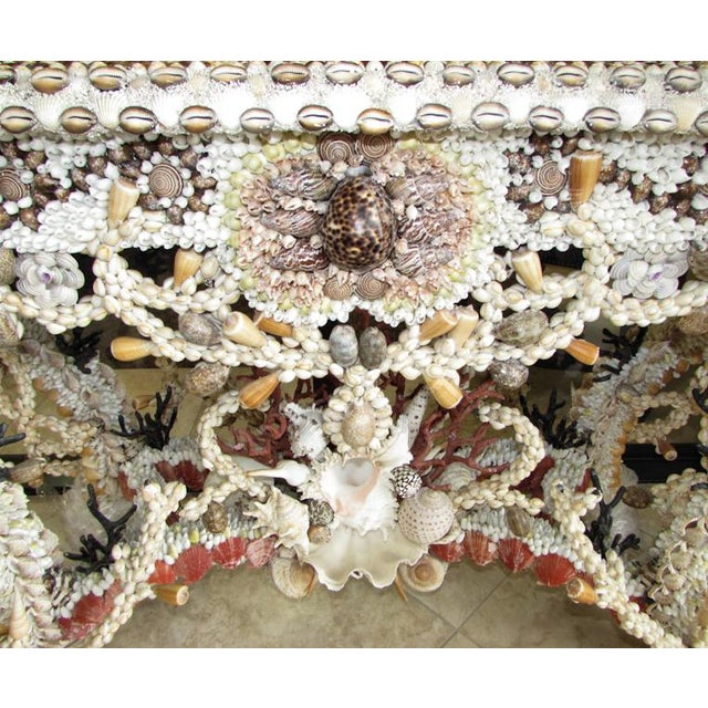2000 - 2009 French Louis XV Seashell Encrusted Console Table For Sale - Image 5 of 12
