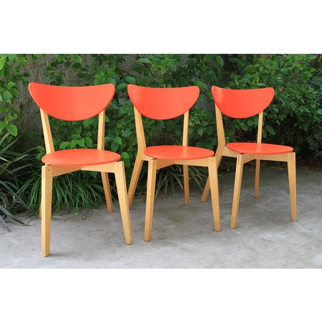 Mid Century Tangerine Chairs - Set of 3 - Image 2 of 8