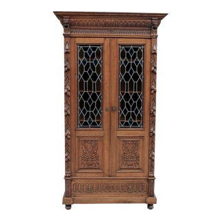 Antique French Oak 19th Century Renaissance Black Forest Stained Glass Cabinet Bookcase For Sale