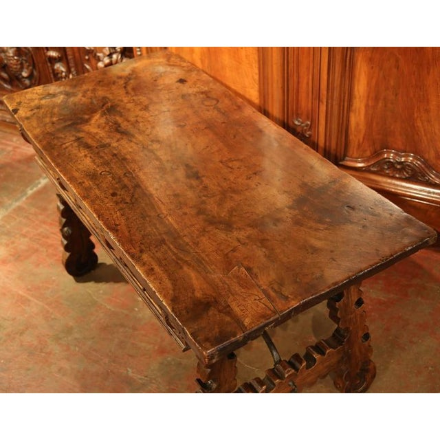 18th Century Spanish Carved Walnut Table Desk For Sale - Image 4 of 10