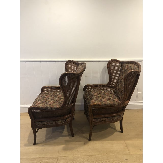 Chippendale 1990s Vintage Ethan Allen Faux Bamboo Rattan Cane Wingback Arm Chairs- A Pair For Sale - Image 3 of 12
