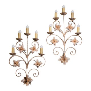 Pair of Custom Hand-Forged Grand Tole Floral Motif Five-Light Sconces For Sale
