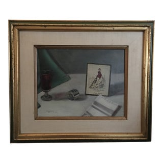 1980s Laura Beasley Original Signed Still Life Oil Painting For Sale