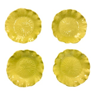 1940s Vintage Majolica Handmade Chartreuse Colored Lotus Leaf Pattern Plates by Newell Stevens - Set of 4 For Sale