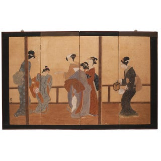 Late Meiji Era Ukiyo-E Style Large Japanese Screen For Sale