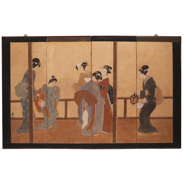 Late Meiji Era Ukiyo-E Style Large Japanese Screen For Sale