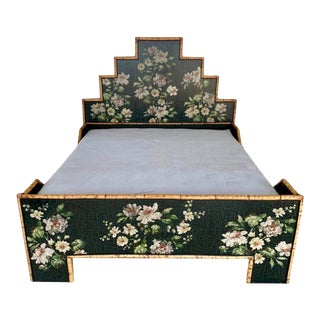 Vintage Chinoiserie Bamboo and Floral Decoupage King Bedframe