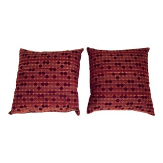 Mid-Century Modern Inspired Geometric-Patterned Burgundy Silk Pillows - A Pair For Sale