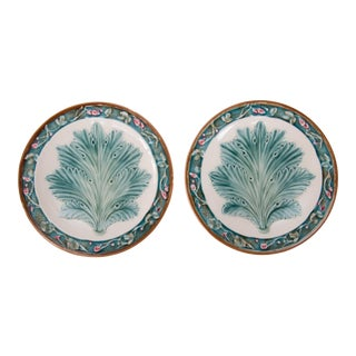Antique French Majolica Spring Leaf & Floral Plates - a Pair For Sale