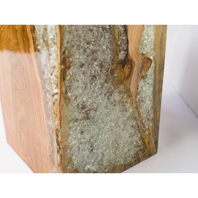 Organic Teak Wood and Cracked Resin Cube Table For Sale - Image 9 of 12