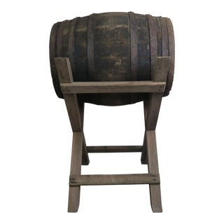 19th C. Spanish Wine Barrel on Stand