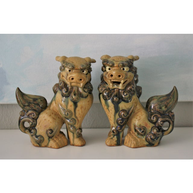 Vintage Terracotta Glazed Foo Dogs - Pair - Image 2 of 7