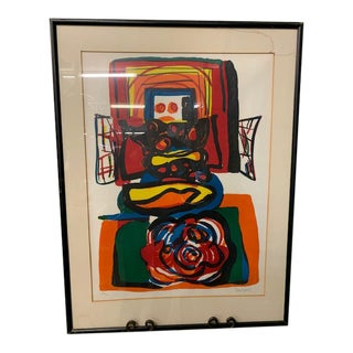 """Abstract Hand Signed and Numbered """"Dutch Apple"""" Lithograph Art by Karel Appel For Sale"""