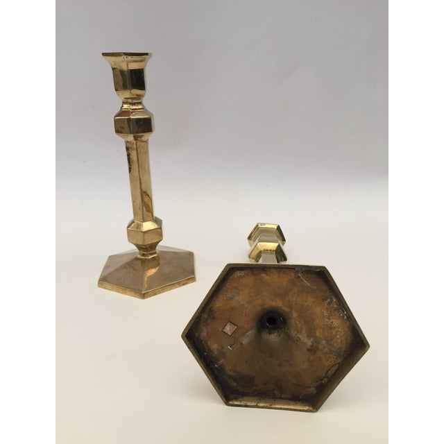 Pair of Brass Candlesticks For Sale - Image 4 of 9