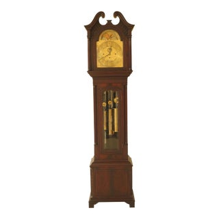 Vintage Tiffany Chippendale 5 Tube Grandfather Clock For Sale