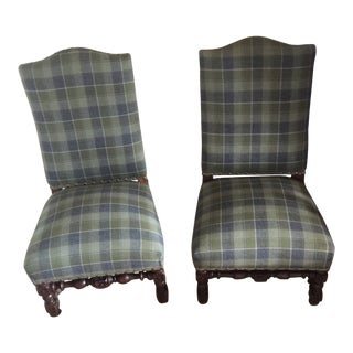1900s Reupholstered Antique English Plaid Child's Chairs- A Pair For Sale