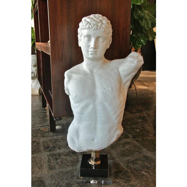 Italian 1960s plaster male bust with plexi base.
