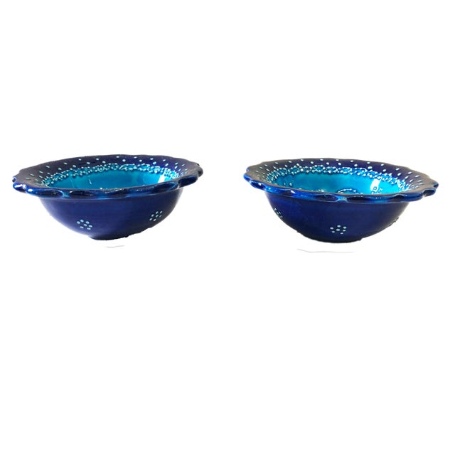 """Turquoise Turkish Hand Painted Ottoman Bowl 5"""" D Pair For Sale - Image 4 of 8"""