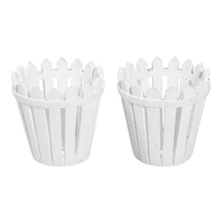 Chalk White Picket Fence Style Cachepots - A Pair