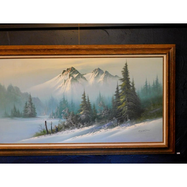 """Mid 20th Century """"A Winter Landscape"""" Oil Painting, Framed For Sale - Image 4 of 8"""