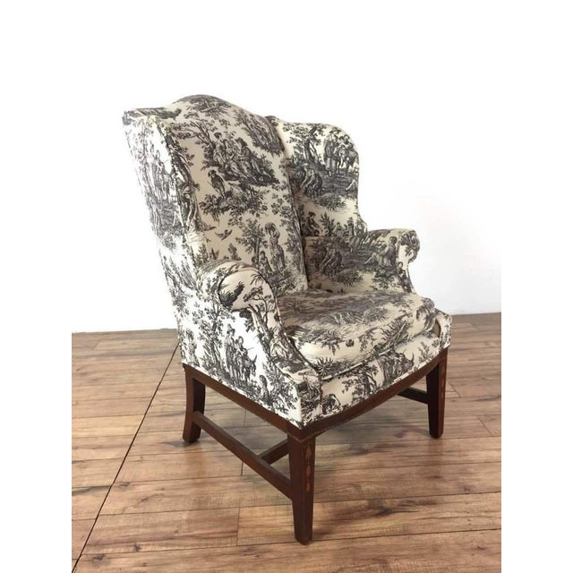 Outstanding Toile Upholstered Wingback Armchair Caraccident5 Cool Chair Designs And Ideas Caraccident5Info