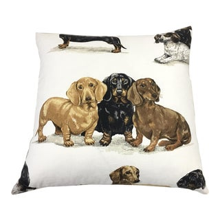 """Barclay Butera """"Kingsley"""" Linen Dachshund Print Pillow With Feather-Down Insert For Sale"""