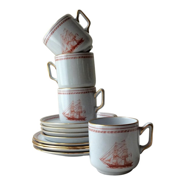 Spode TradeWinds Pattern Coffee Cups, Saucers and Plates - Set of 12 For Sale