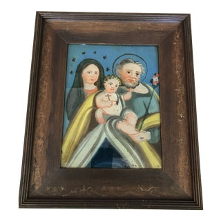 Early 20th Century Retablo Holy Family Reverse Glass Painting For Sale
