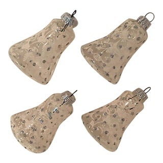 Snow Frosted Bell Ornaments S/4 For Sale