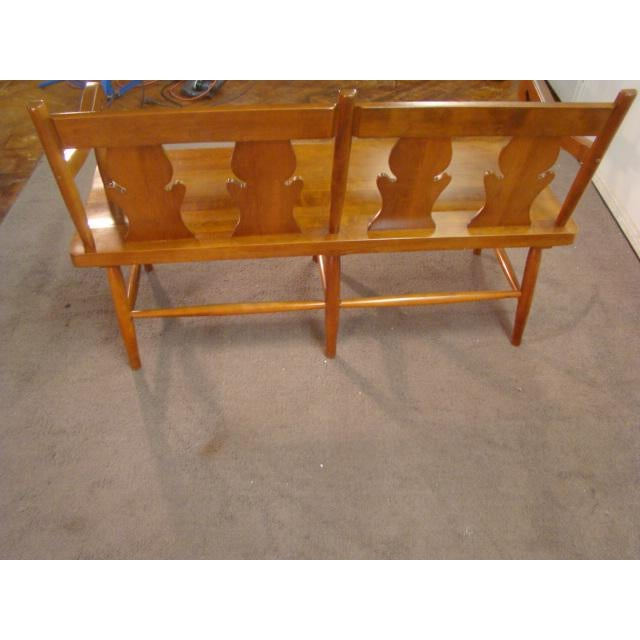 Traditional Stickley Solid Cherry Settee or Bench For Sale - Image 3 of 9