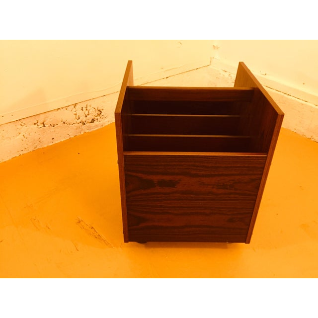 1960s Rosewood Single Rolling MCM Record Album Holder by Rolf Hesland for Bruksbo, Norway For Sale - Image 5 of 13