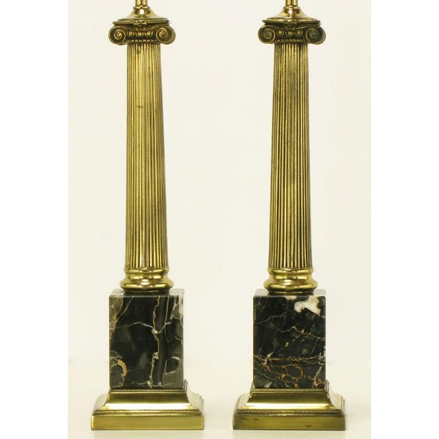 1960s Pair Brass & Black Portoro Marble Ionic Column Table Lamps For Sale - Image 5 of 8