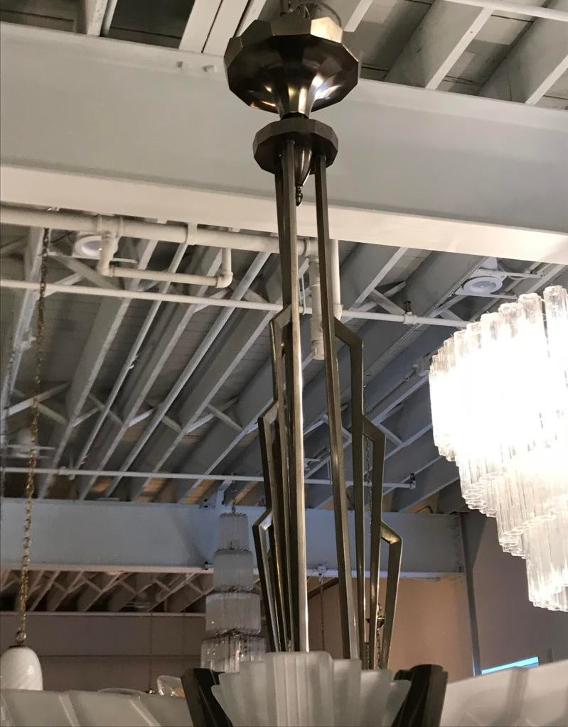 Fine French Art Deco Skyscraper Chandelier Signed By Atelier